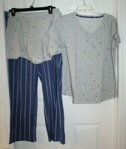 WOMAN'S SZ LARGE 3P PAJAMA SET-SHORTS, SS TOP, AND PANTS by SONOMA-NEW WITH TAGS