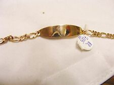 18 K GOLD BABY ID BRACELET WITH FIGARRO STYLE CHAIN