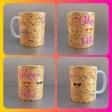 personalised mug cup emoji faces smiley winkey kissy smug yellow ios phone :) ;)