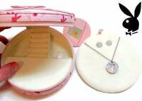 Playboy Jewelry Set Bunny Necklace Earrings Logo Silver Swarovski Crystal Box j0