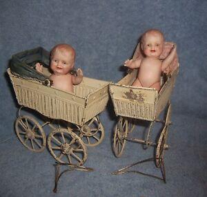 2 Antique Metal Goso German Baby Dollhouse Buggy~SET~Carriage~Pram~**NO DOLLS**