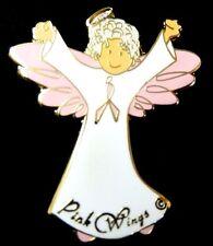 Breast Cancer Lapel Pin Awareness Pink Ribbon Granny Gray Hair Angel Tac New