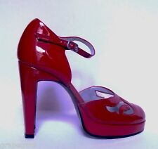 CHARLES JOURDAN Red Patent Leather Ankle Strap-Platform-High Heel Shoes, 5M, NEW