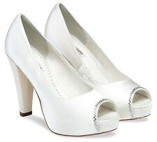 Scarlett peep toe platform with on-trend block heel 9 cm Wedding shoes size 8/41