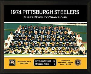 PITTSBURGH STEELERS Super Bowl IX Champs 8x10 Plaque 1974 Team Franco Harris
