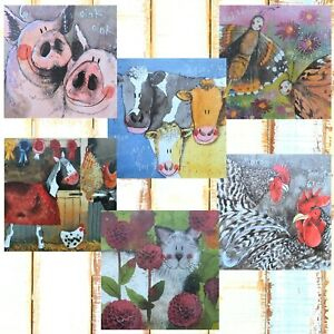 Alex Clark Blank Greeting Cards Pack of 6 Mixed Animals Any Occasion / Birthday