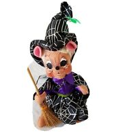 """Annalee Halloween Spider Web Witch Mouse 8"""" Doll Holding Broom 301412"""