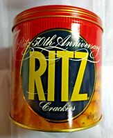 Ritz Crackers 50Th Anniversary Empty Tin Canister Round Vintage 1984 Nabisco