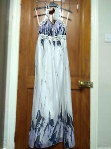 Cheap White elegant bridesmaid wedding Prom party maxi dress Size 10.