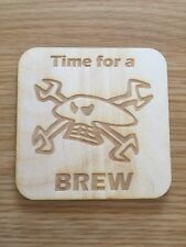 Guy Martin Skull and Spanners Wooden coaster, Gift,