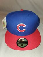 MLB CHICAGO CUBS NEW ERA 59 FIFTY CLASSIC BLUE FITTED MENS HAT SZ 8 20942494