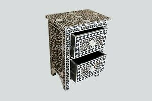 Bedside Handmade Mother of Pearl Floral Design Black Two Drawer Nightstand