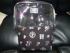 Victoria'S Secret Pink Make Up Bag Set Cosmetic Travel Tech Case Clear & Silver