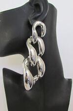 "New Women 5"" Long Huge Chunky Link Chains Big Fashion Earrings Set Silver / Gold"