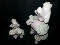 2 Porcelain pink poodles with spagetti hair vintage 1950'sVGC