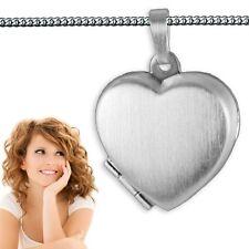 Medaillon Herz Foto Amulett Anhänger Silber 925 mit Innen- Ausstattung und Kette