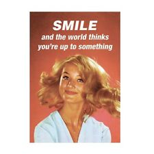 """Retro Humour """"Smile And The World Thinks"""" Greetings Card Birthday Gift Occasion"""