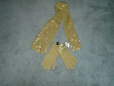 Gold Sequin Scarf & Glove Set New With Tags