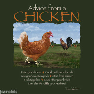 Gildan T-shirt Chicken Advice Farm Country Hen Rooster Unisex S M 2XL NWT