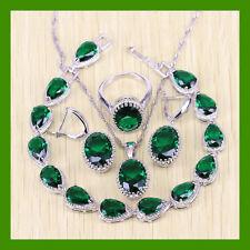 Green Emerald  925 Silver Necklace Pendant Earrings Ring Bracelet