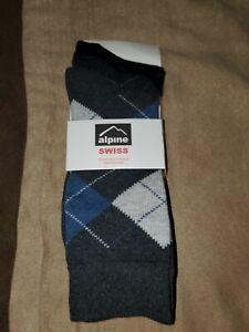 Alpine Swiss 3 Pack Mens Cotton Dress Socks Mid Calf Argyle Pattern Solids Set