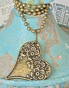 Beautiful Etched Bronze Necklace with Flower Covered Heart. Love. Bloom