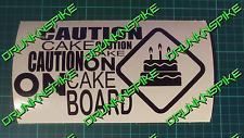 Precaución pastel a bordo coche decal sticker Vinyl Cumpleaños Pastel advertencia 20 cm X 9 Cm