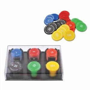 60 Poker Chips 6 Farben Pokerchips Chip Jetons Box Plastik 1 5 10 20 50 100 NEU