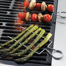 4pc Stainless steel Veggie Raft Skewers Double Wide Small BBQ Barbecue Forks 8''