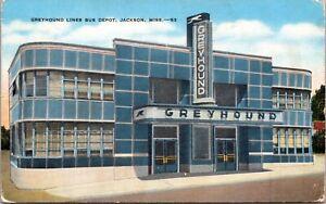 Linen Postcard Greyhound Lines Bus Depot in Jackson, Mississippi~138473