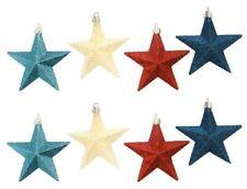 "8 pc. Glitter STAR Ornaments - Patriotic Red White & Blue - 3.42"" - shatterproof"