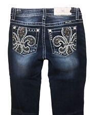 Miss Me Women's Fleur De Lis Chloe Boot Cut Dark Blue Wash Stretch Jeans D577