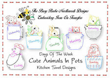 Cute Animals In Assorted Pots Embroidery Transfer Kitchen Towel Days Of The Week