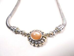 LAGOS Stunning Sterling Silver 18k Gold Peach Moonstone Pendant & Chain Necklace