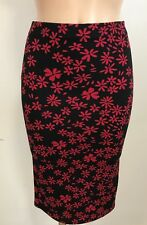 BLACK RED FLORAL CASUAL SMART PENCIL TUBE WIGGLE STRETCH MIDI SKIRT SIZE 12