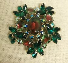 "Vintage Big Watermelon Red Green Glass AB Rhinestone Gold Dome 2½"" Pin Brooch"