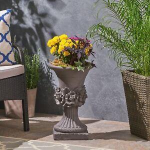 Michaelia Chalice Garden Urn Planter, Roman, Botanical, Lightweight Concrete