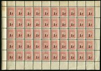 Switzerland Revenue 2f Stamps Full Sheet of 50 Canton de Vaud Droits Reels MNH