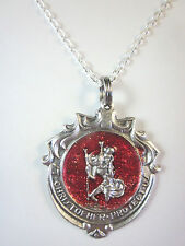 "Ornate Catholic St Christopher Medal Red Enamel Italy Pendant Necklace 20"" Chain"
