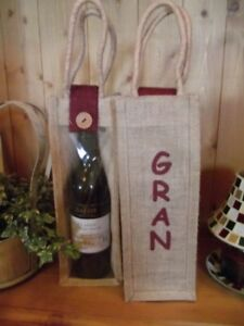 For Mother's Day !!    A Hessian / Jute Wine Gift Bottle Bag that says 'Gran'.
