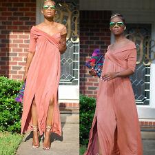 Womens Ladies Fashion Off Shoulder Half Sleeve Solid Slit Clubwear Casual Dress