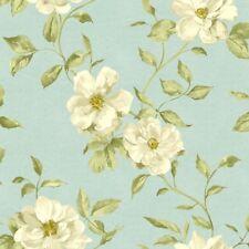 Teal Floral Wallpaper Ideco Chloe Grandeco White Flower Pattern Leaf Motif Paper