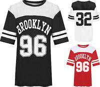 Womens Plus Brooklyn 96 Baseball Top Ladies Print Airtech Striped Baggy T-Shirt