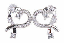 Swarovski Elements Crystal Heart  Pierced Earrings Rhodium Plated New 7106x