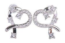 Swarovski Elements Crystal Heart  Pierced Earrings Rhodium Plated New 7106x