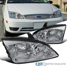 2005-2007 Ford Focus ZX4 ST Replacement Chrome Clear Headlights Head Lamps Pair