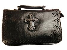 Banned Black Gothic Cross Handbag Faux Leather Vintage Shoulder Bag Punk Rock