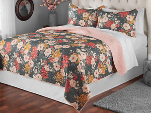 """Mainstays Grey Multi-color Floral FULL / QUEEN Quilt Blanket 86"""" x 90"""""""