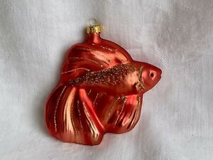 FANTAIL FISH Glass Ornament Red Orange Christmas Nautical Tropical Sea Animal
