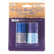 Beadsmith S-Lon Bead #18 Twisted Nylon Cord Serenity Mix Pack of 4 (B48/1)